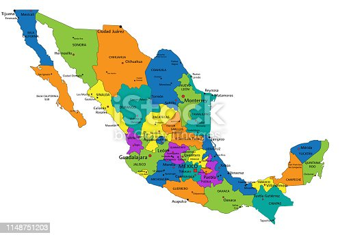 Colorful Mexico political map. Organized vector illustration on seprated layers.