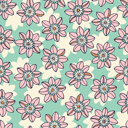 Colorful Mid Scale Hand-Drawn Floral Vector Seamless Pattern. 70s Nostalgia
