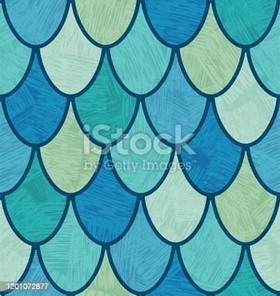 istock colorful midcentury overlapping fish scales or feathers pattern 1201072877