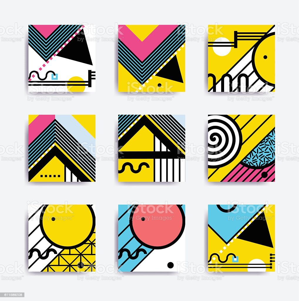 Colorful minimalistic geometric design vector art illustration