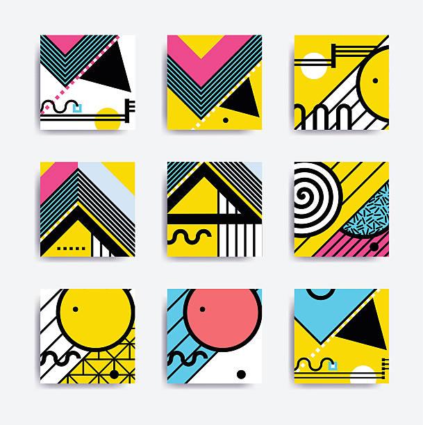 Colorful minimalistic geometric design vector art illustration