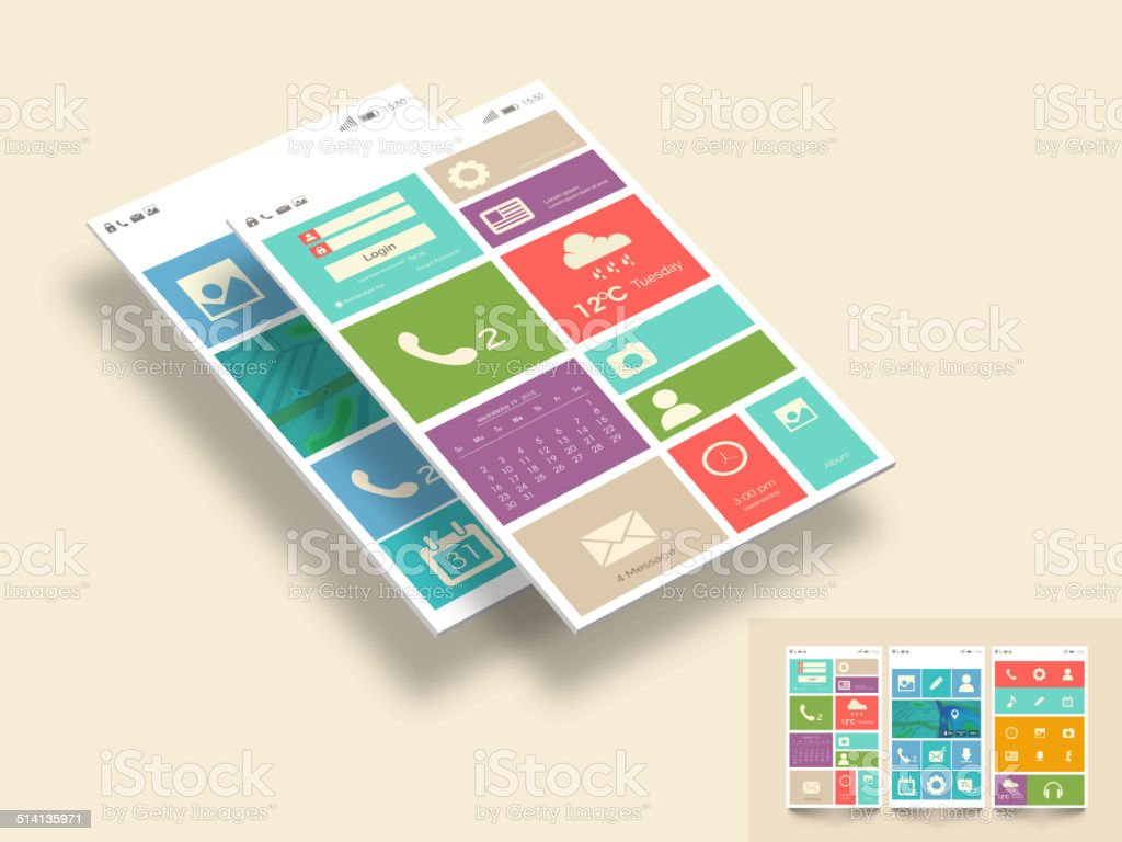 Colorful mobile Web UI Concept for mobile or tablet.