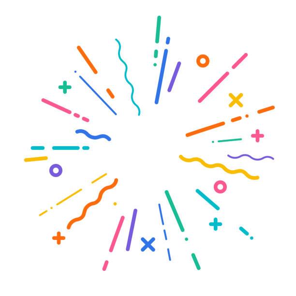 ilustraciones, imágenes clip art, dibujos animados e iconos de stock de explosión moderna colorida - fiesta