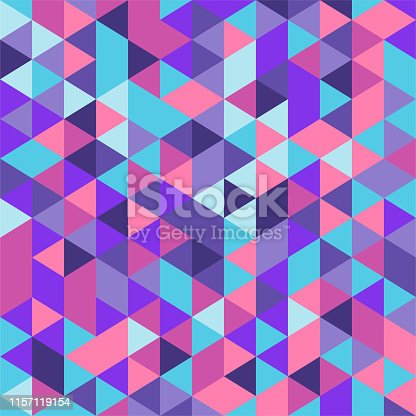 Decorative and colorful geometric vector pattern illustration. Abstract background design with vibrant colors of purple, red and blue.