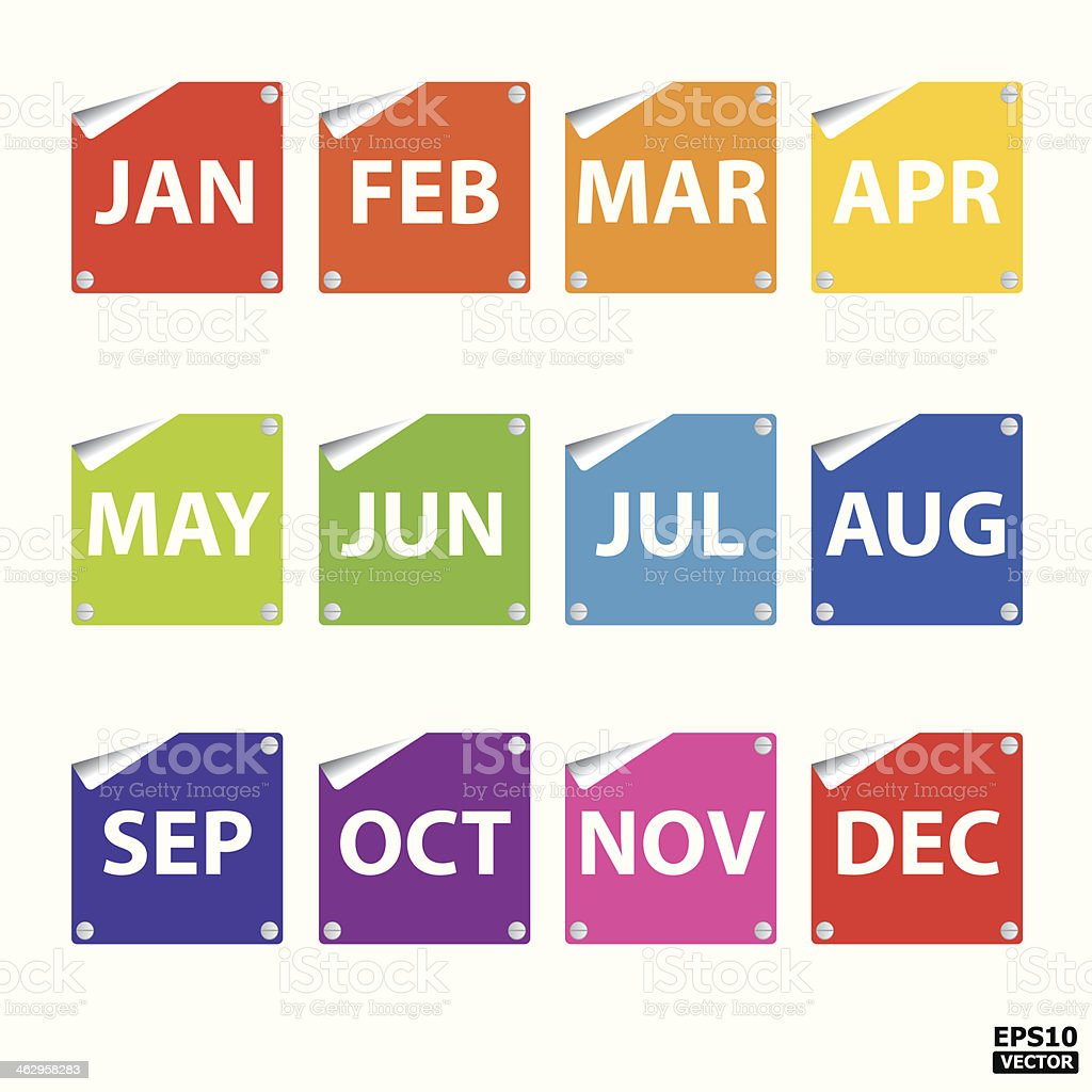 Colorful month stickers(icon, sign, symbol). vector art illustration