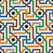 Colorful Ornate Seamless Vector Pattern of Moorish Tiled Decorations. Tileable mosaic background in Palace of Alhambra Style.