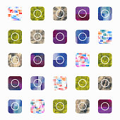 Colorful mosaic buttons collection