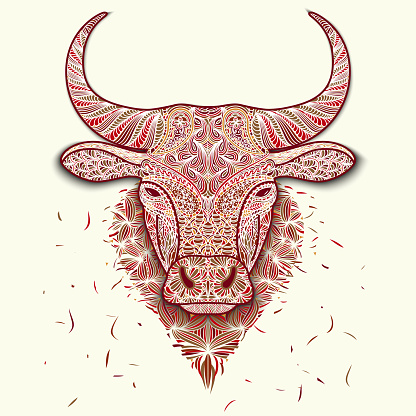Colorful mosaic head ox. Symbol of 2021 New Year isolated on white. Patterned face of bull. Decoration for printing on fabric. Meditation and antistress in drawing and coloring.