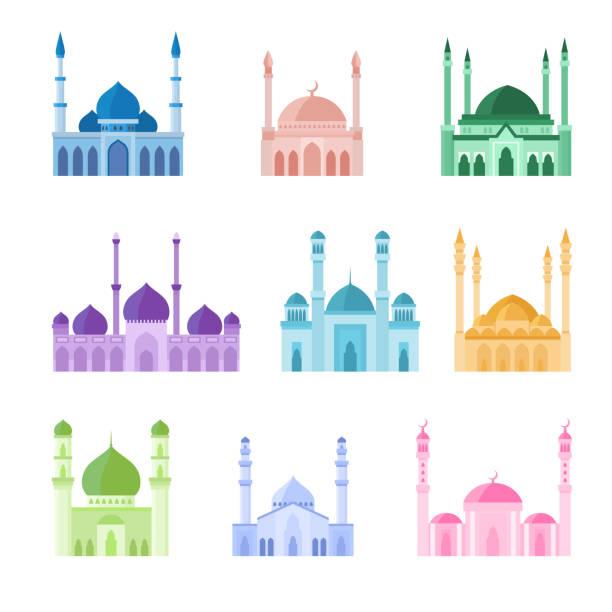 stockillustraties, clipart, cartoons en iconen met kleurrijke moskeegebouwen vectorpictogrammen reeks. de illustratie van de vector op witte achtergrond - oost duitsland