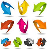 Vector illustration of a collection of abstract glossy dynamic arrows on white background, for connection, recyclable and refresh symbols. Vector eps and high resolution jpeg files included
