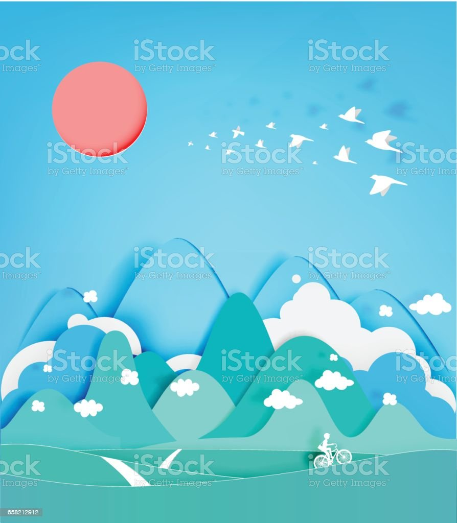 Colorful mountain paper cut style background vector art illustration