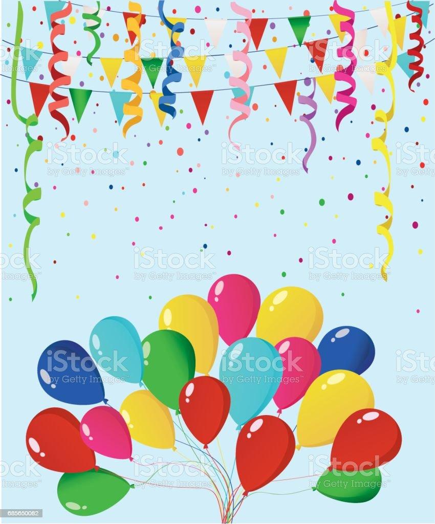 Bunte bunte Konfetti und Kranz von Fahnen und Luftballons. Urlaub Geburtstag. Vektor. Grußkarte oder Einladung. Lizenzfreies bunte bunte konfetti und kranz von fahnen und luftballons urlaub geburtstag vektor grußkarte oder einladung stock vektor art und mehr bilder von band