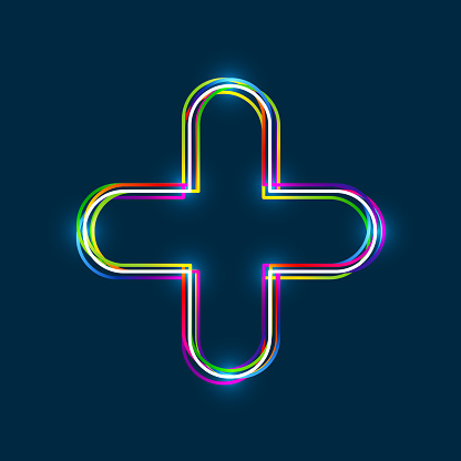 Colorful multi-layered outline of a plus sign with glowing light effect on blue background