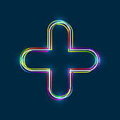 Colorful multi-layered outline of a plus sign with glowing light effect on blue background. Vector EPS 10