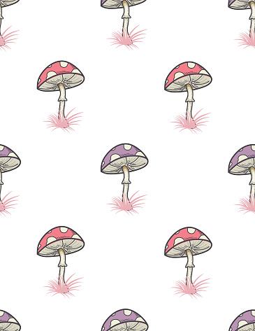 Colorful Mushroom Pattern Stock Illustration - Download Image Now