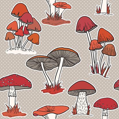 Colorful mushrooms seamless vector pattern