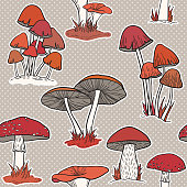 istock Colorful mushrooms seamless vector pattern 1215557924