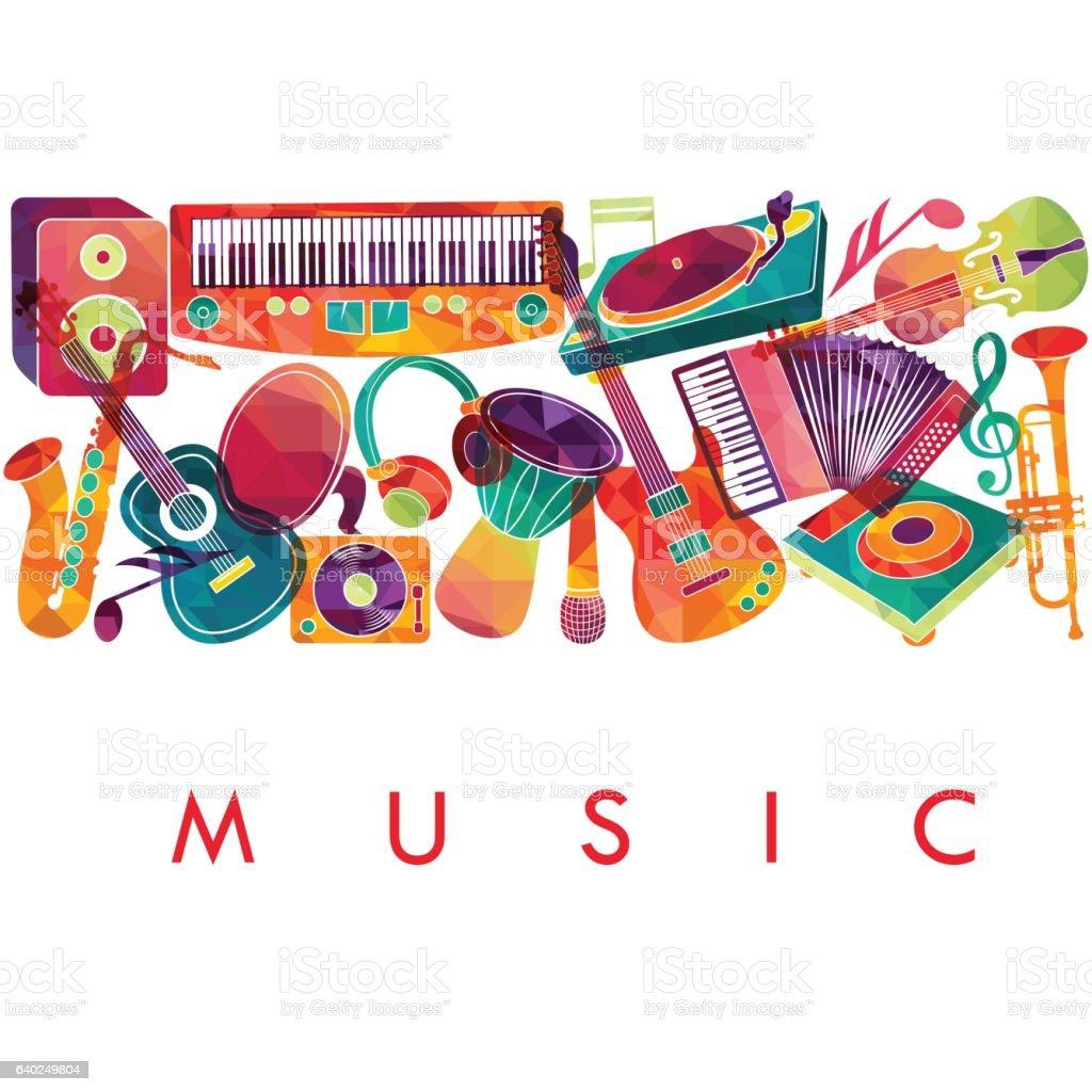 Colorful music background. Music instruments.  Vector illustration vector art illustration