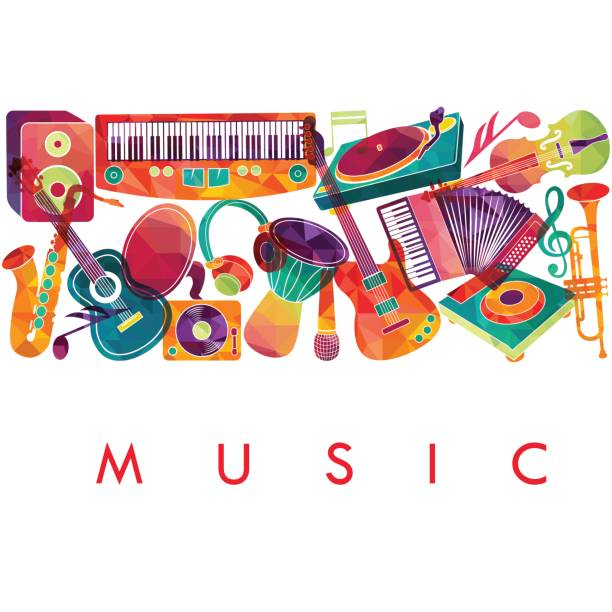 Colorful music background. Music instruments.  Vector illustration - Illustration vectorielle