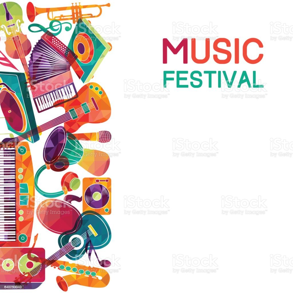 Colorful music background. Music instruments.  Vector illustration - ilustración de arte vectorial