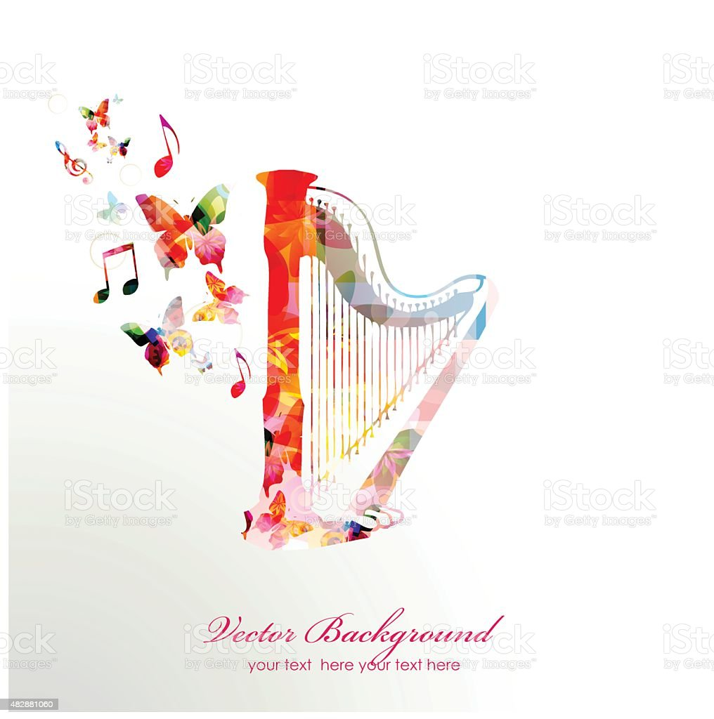 Colorful music background. Vector vector art illustration