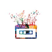 Colorful music background with cassette tape and hummingbirds