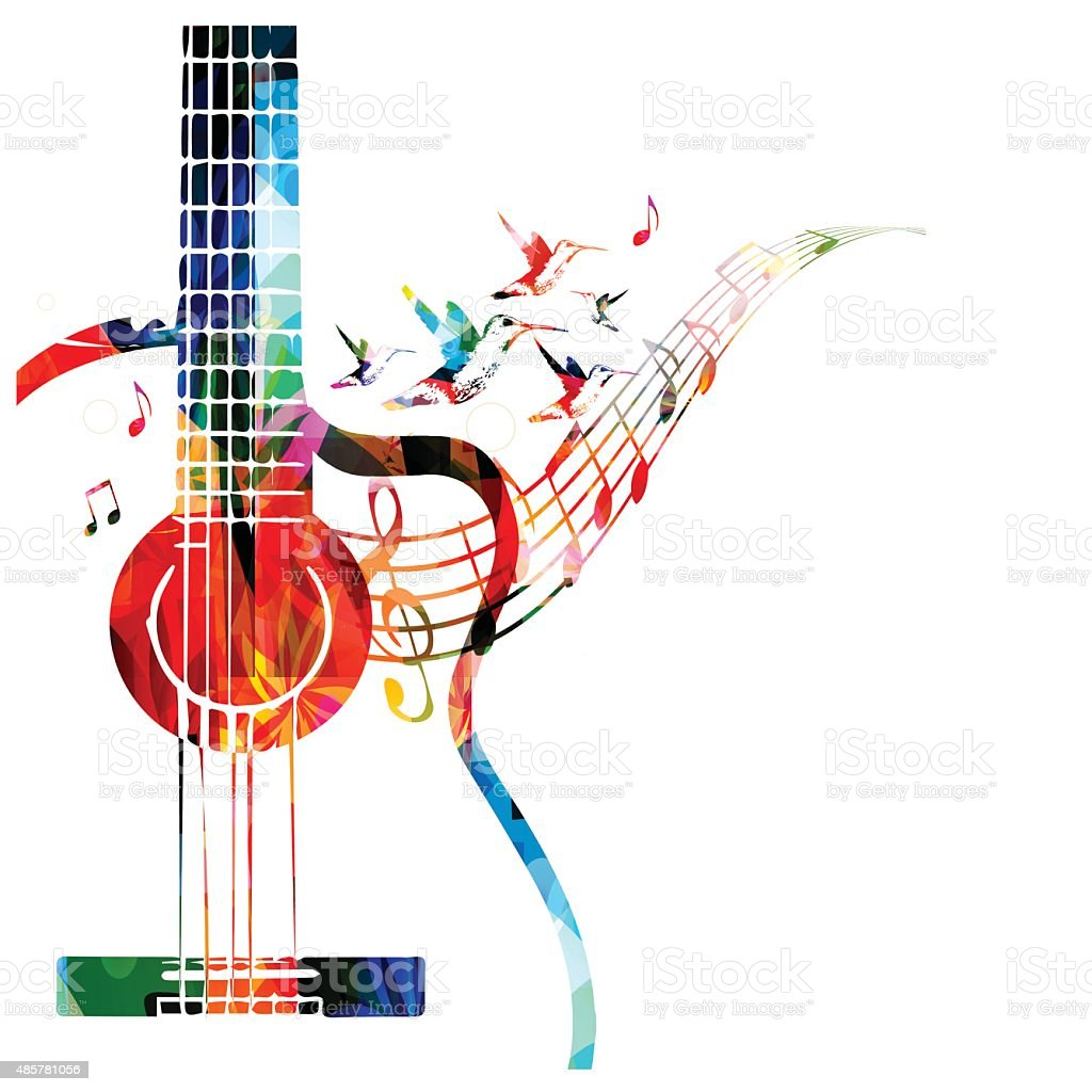 Colorful music background with guitar vector art illustration