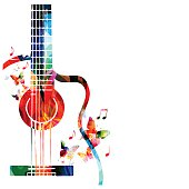 Colorful music background with guitar