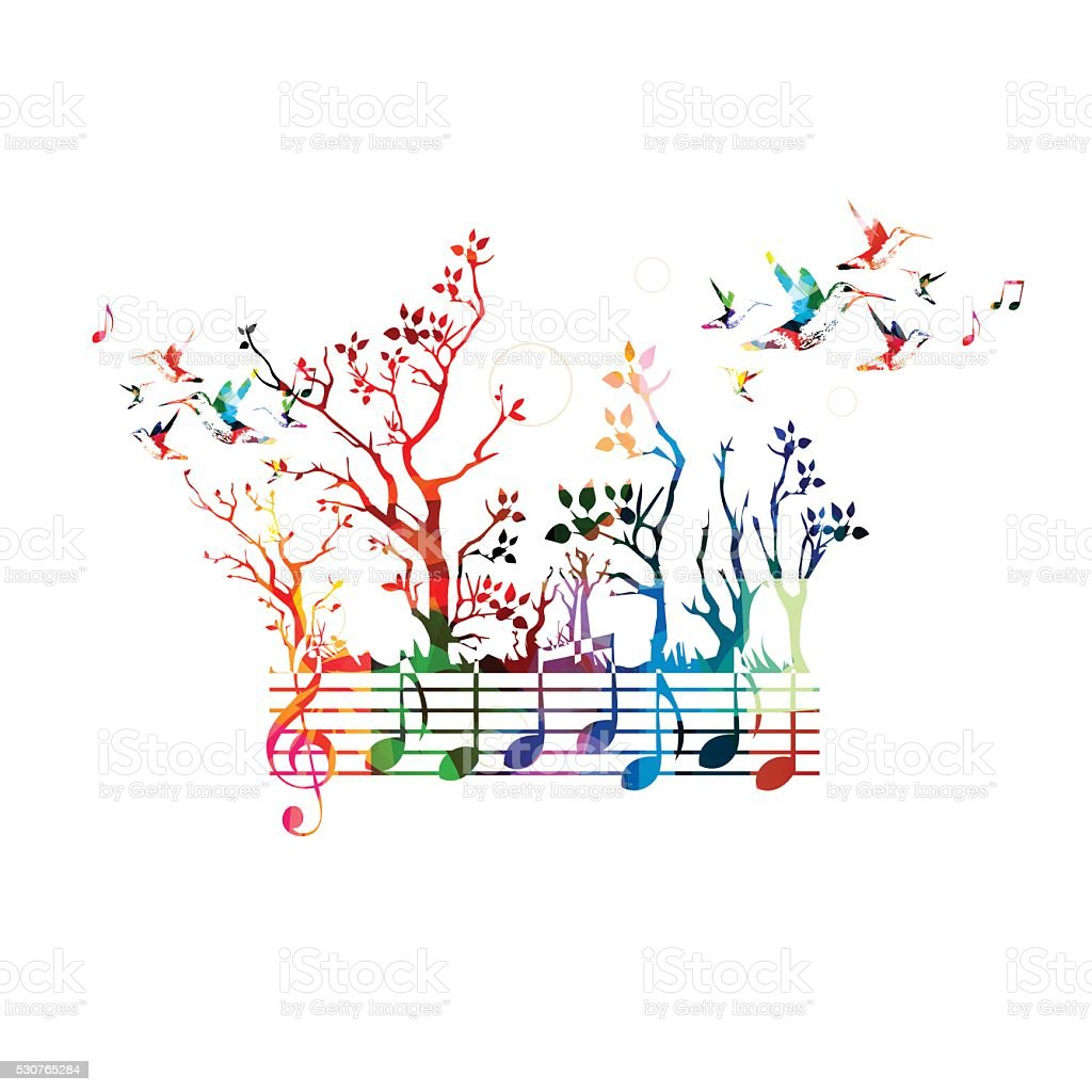Colorful music background with music notes and hummingbirds - Royalty-free Akkoord vectorkunst