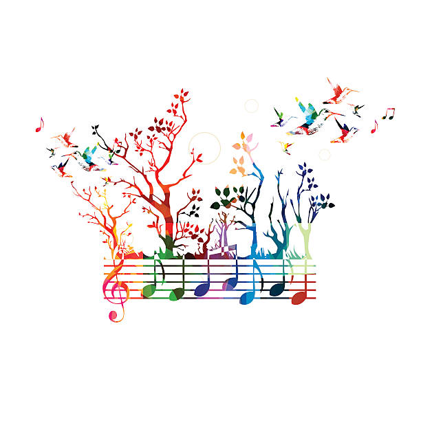 stockillustraties, clipart, cartoons en iconen met colorful music background with music notes and hummingbirds - zanger vogel