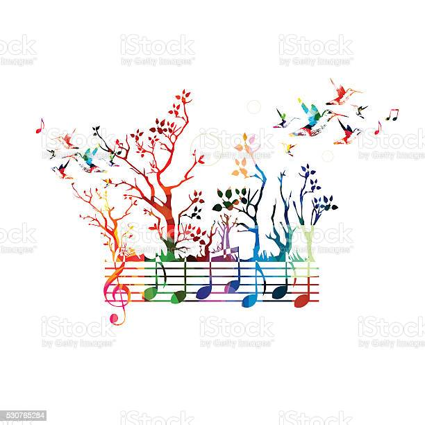 Colorful Music Background With Music Notes And Hummingbirds Stockvectorkunst en meer beelden van Akkoord