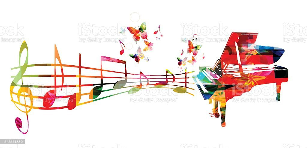 3d Colorful Music Notes Wallpaper: Colorful Music Background With Piano And Music Notes Stock