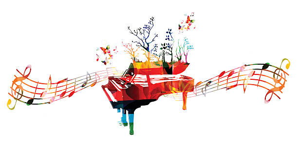 Colorful music background with piano and music notes vector art illustration