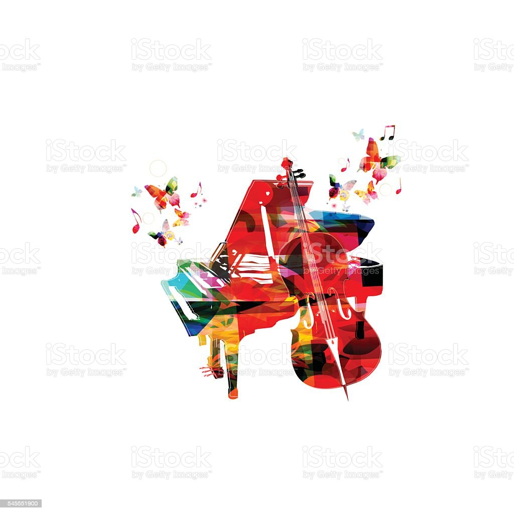 Colorful music background with violoncello and piano vector art illustration