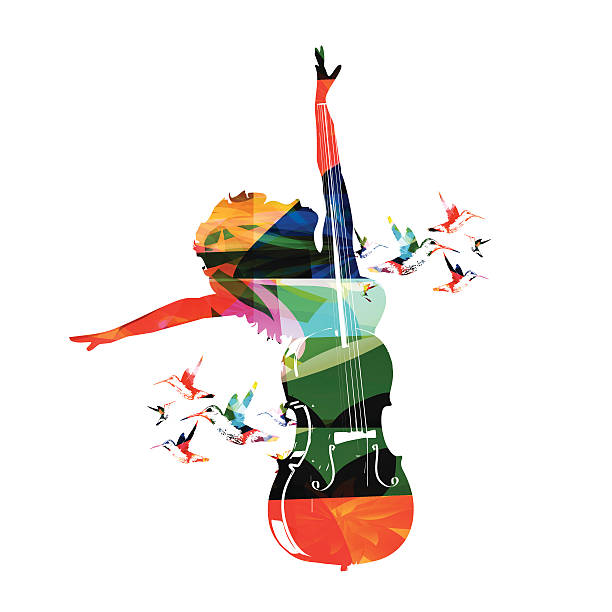 Colorful music design Colorful music design, happy woman enjoying music performing arts event stock illustrations
