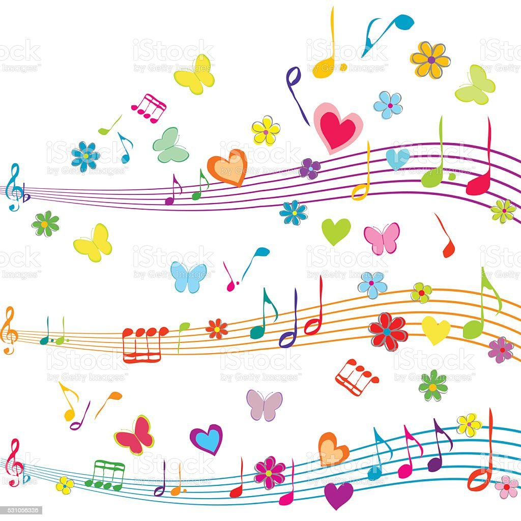 colorful music design with stave butterflies hearts and