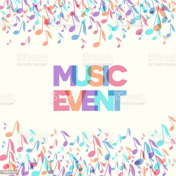 Colorful Music Event Notes Background Vector Illustration Stock Illustration - Download Image Now