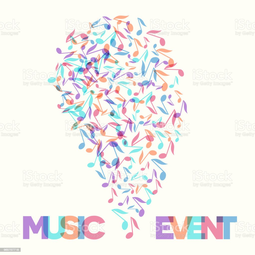 Colorful Music Event notes background. Vector Illustration - Стоковые иллюстрации Абстрактный роялти-фри