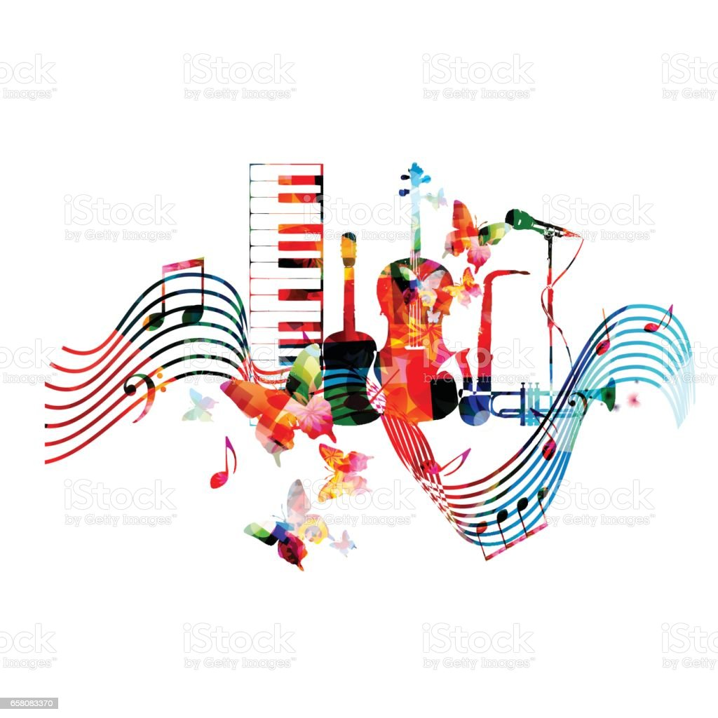 Colorful music instruments with music notes vector art illustration