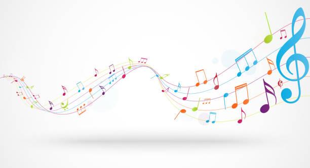 kolorowe notatki muzyczne tło - muzyka stock illustrations