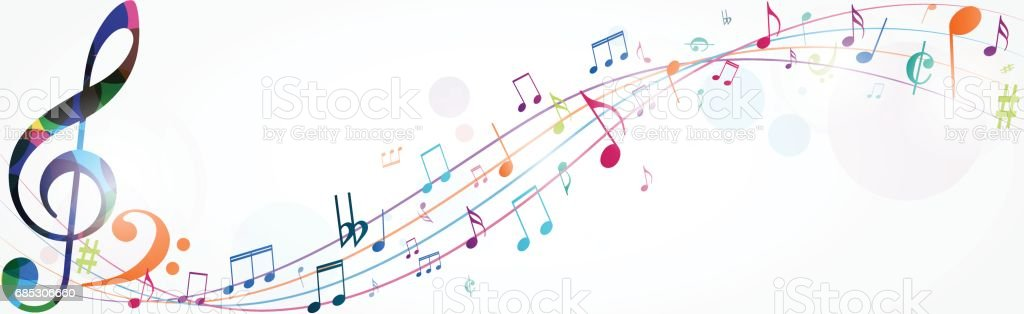 Colorful music notes background vector art illustration
