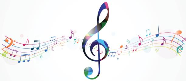 colorful music notes background - harmonia instrument stock illustrations