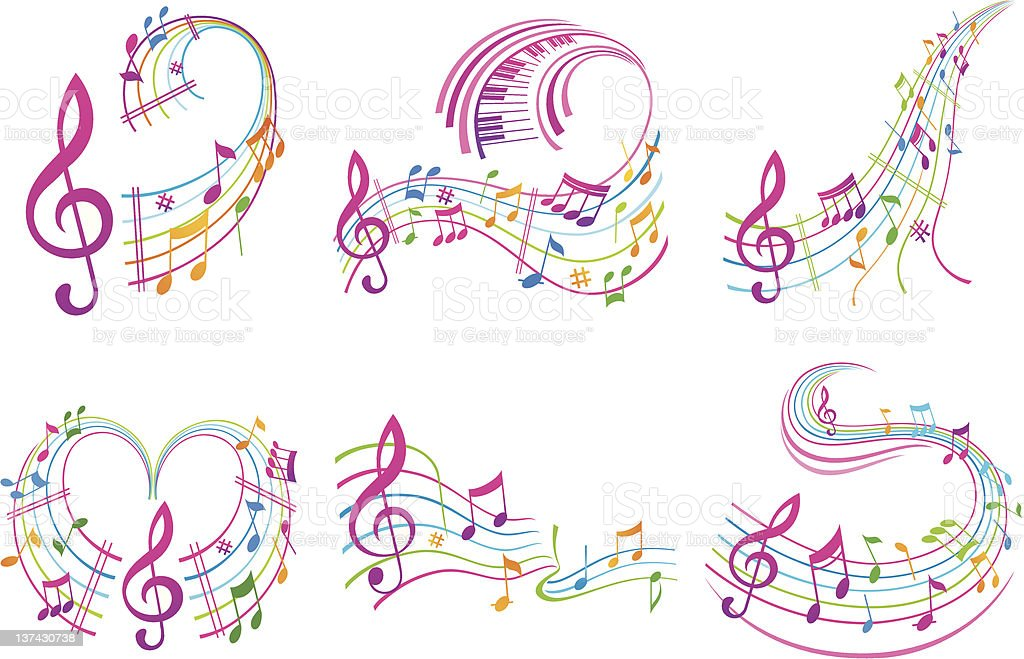 Colorful music notes. Set. royalty-free stock vector art