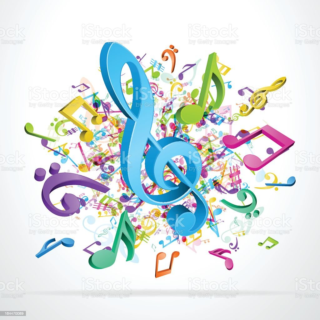 Colorful music notes vector background royalty-free stock vector art