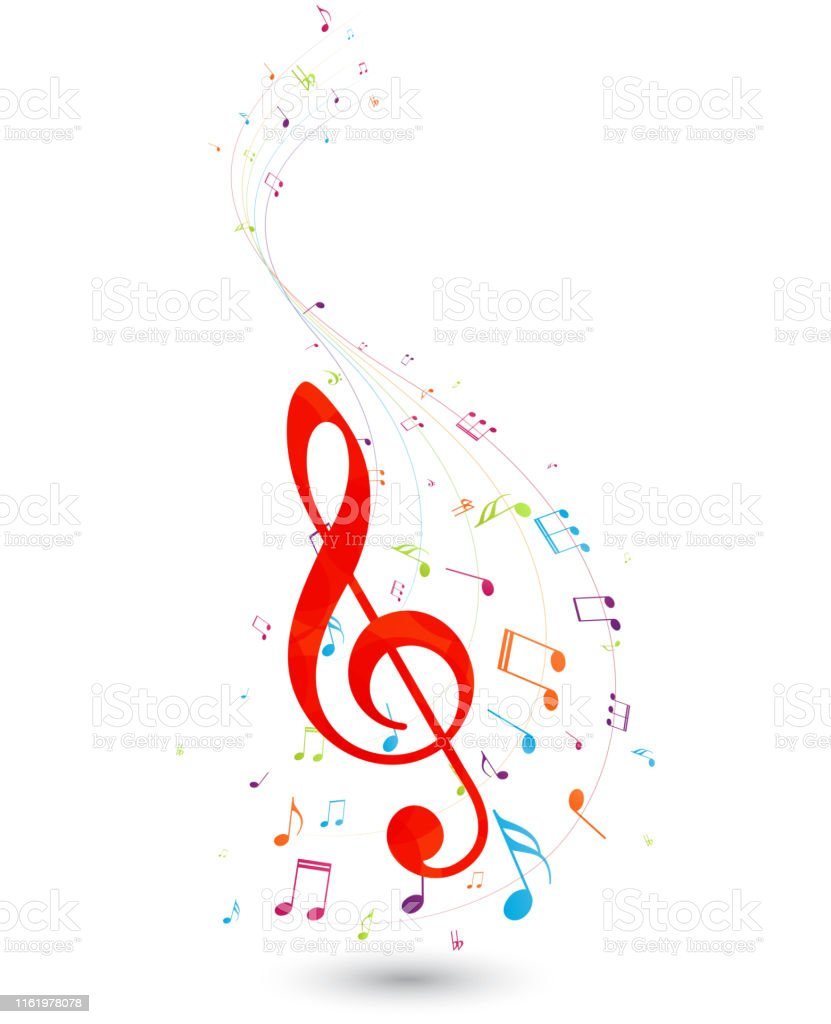 Vector Illustration of Colorful Music notes , isolated on white...