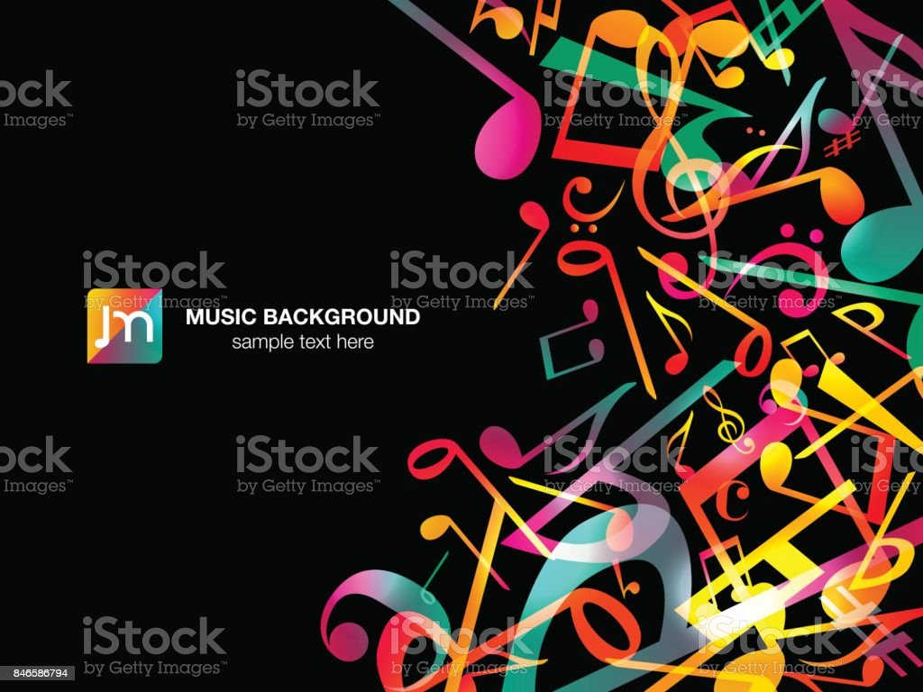 Colorful Music notes. Vector Illustration Abstract black background. vector art illustration