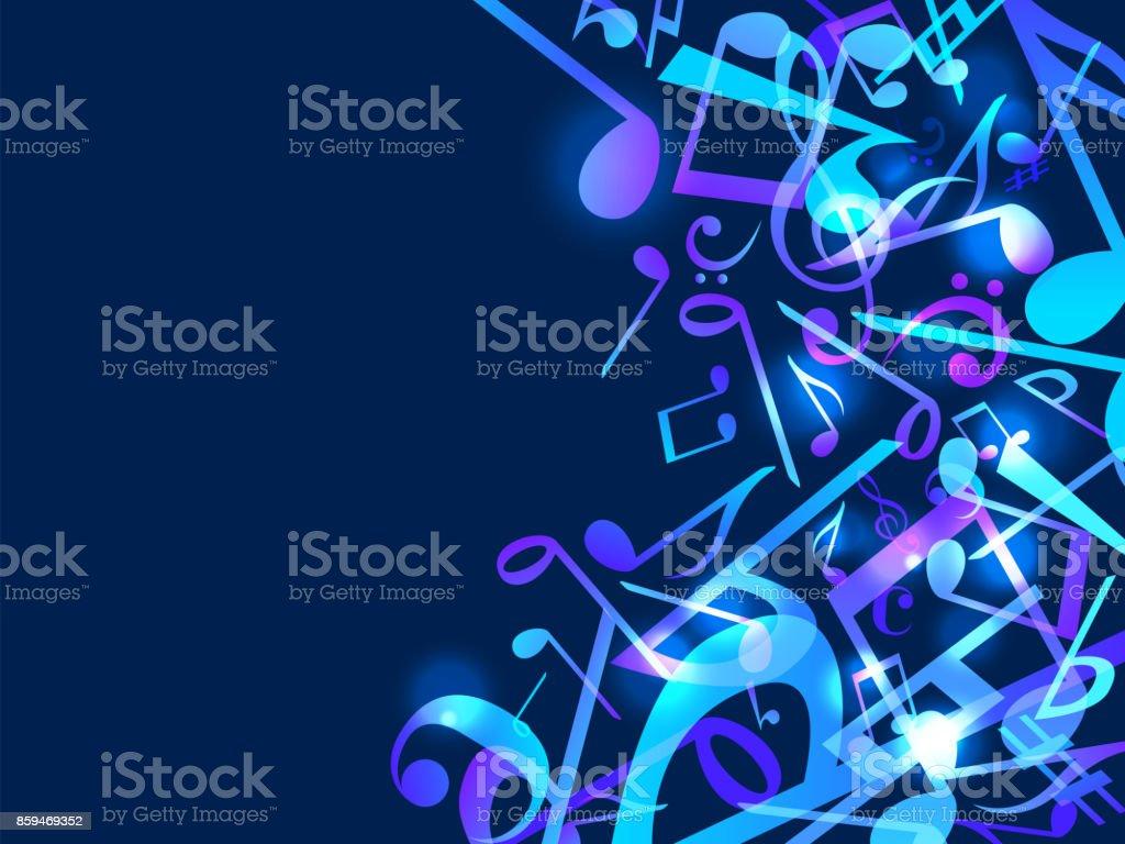 Renkli müzik notlar. Vektör illüstrasyon mavi arka plan. vektör sanat illüstrasyonu