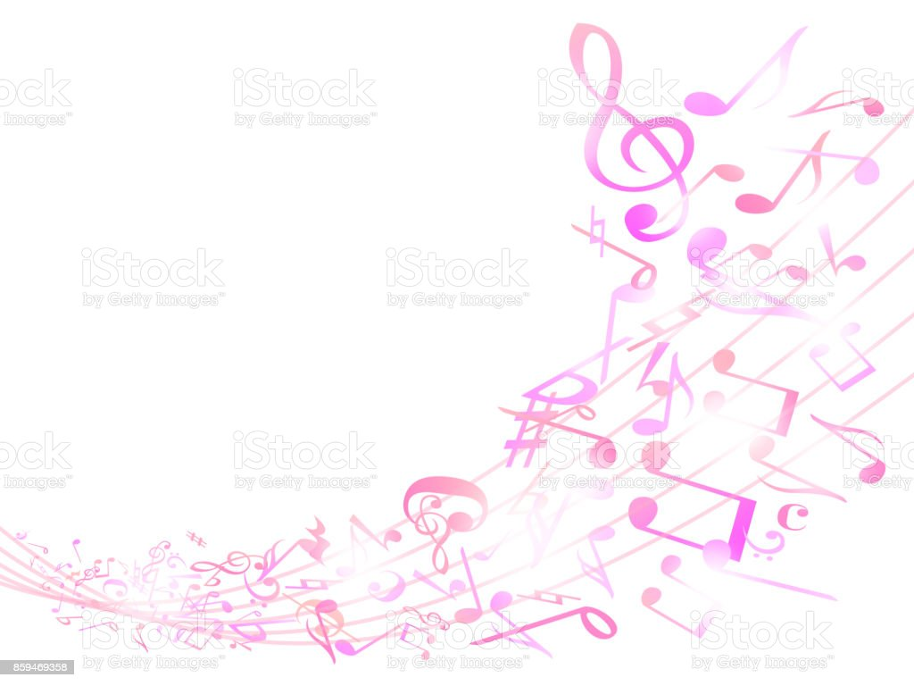 Colorful music notes background isolated on white Vector Image
