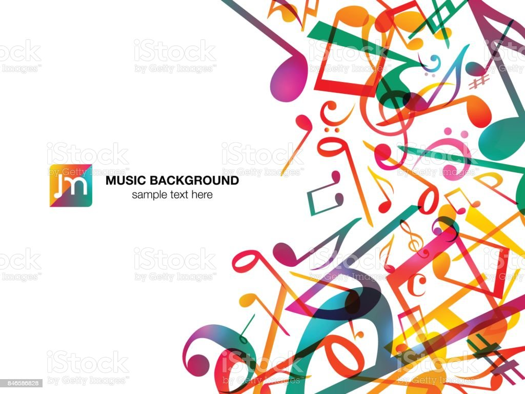 Colorful Music notes. Vector Illustration Abstract white background. vector art illustration