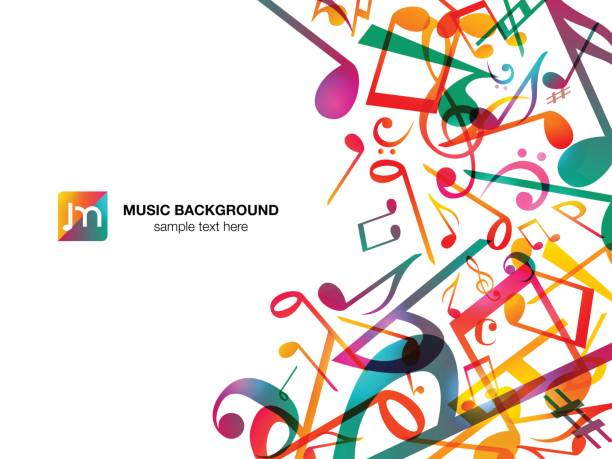 colorful music notes. vector illustration abstract white background. - music stock illustrations